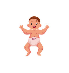 Flat newborn cute baby boy in diaper vector