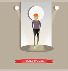 flat of male model in casual vector image vector image