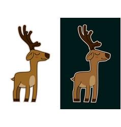 funny cartoon deer mascot character sticker vector image