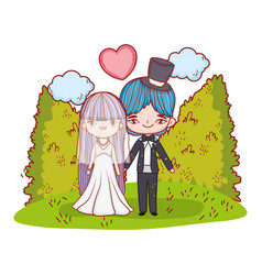 girl and boy marriage with clouds and bushes vector image