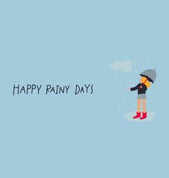 Girl umbrella enjoy rain postcard vector