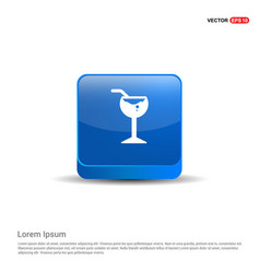 glass of juice icon - 3d blue button vector image