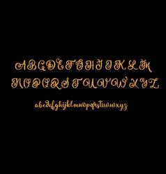 Glitter gold alphabet font on black vector