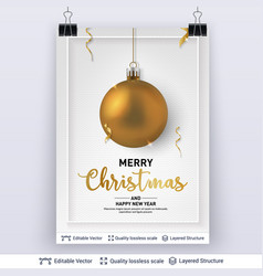 Golden christmas ball and text on light background vector