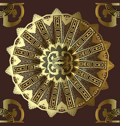 greek ornamental gold 3d seamless mandala pattern vector image