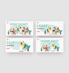 Group therapy treatment landing page template set vector