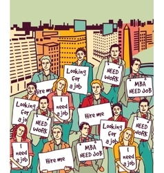 Group unemployment people protest demonstration vector