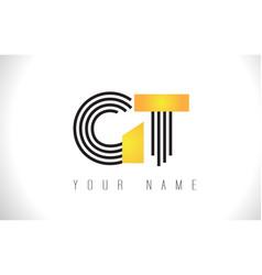 gt black lines letter logo creative line letters vector image