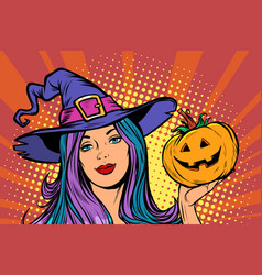 happy halloween witch with pumpkin vector image