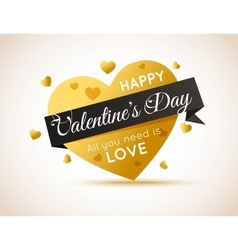 Happy Valentines Day Flyer Gold Heart with Ribbon vector