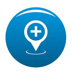 Hospital map pointer icon blue vector