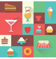 icons sweet dessert vector image