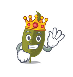 King bay leaf mascot cartoon vector