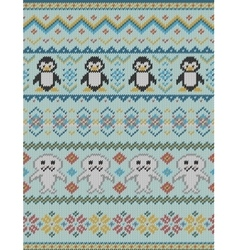 Knitted bright seamless winter pattern vector