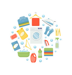 laundry elements circular background vector image