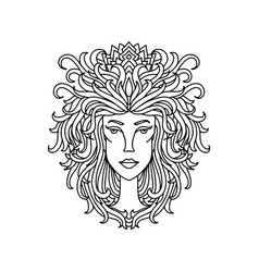 leo girl portrait zodiac sign for adult coloring vector image