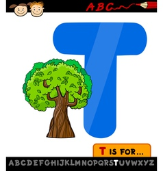 Letter t with tree cartoon vector