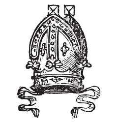 Mitre are worn by roman catholic archbishops vector