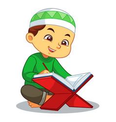 Moslem boy reading koran vector