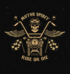 motor spirit ride or die motorcycle with wings vector image
