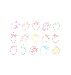 One line art style strawberry abstract food vector