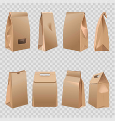 Paper bags 3d with cut handles and rolled fold vector