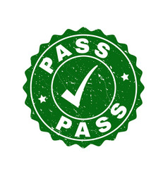 pass scratched stamp with tick vector image