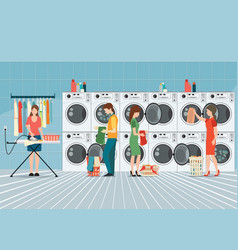 People in laundry room with row of industrial vector
