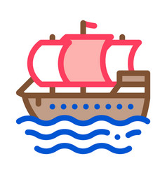pirate sail boat icon outline vector image