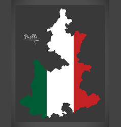 Puebla map with mexican national flag vector