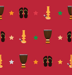 Rastafarian seamless pattern with bongos flip vector