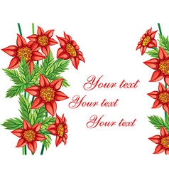 Red Floral Background with Text Space vector image