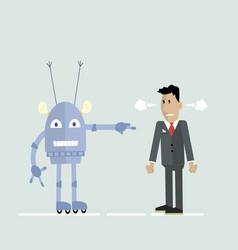 Robot and man in a quarrel vector