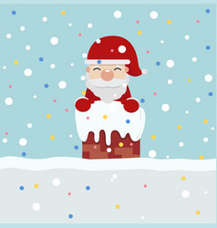 Santa claus on roof vector