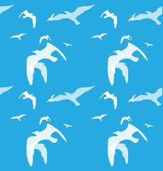 Seamless pattern of bird on the blue vector