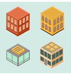 set 4 isometric houses in flat style vector image