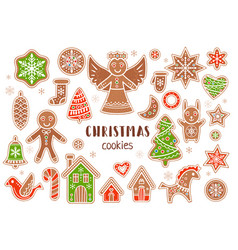 set cartoon style christmas cookies vector image