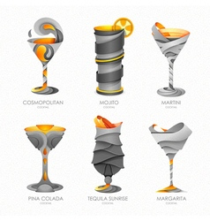 Set of 3D cocktails design vector image