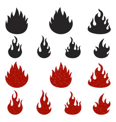 set of fire icons isolated on white background vector image