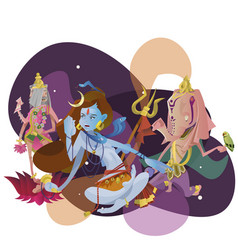 set of isolated hindu gods meditation in yoga vector image
