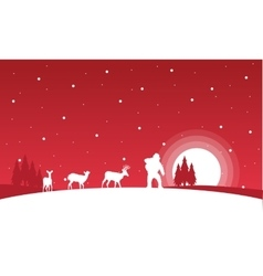 Silhouette of Santa and reindeer landscape vector
