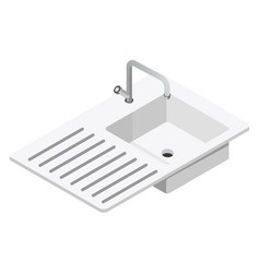 Sink and tap with dish drying surface kitchen vector