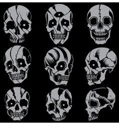 Skulls Old school style Set 01 vector