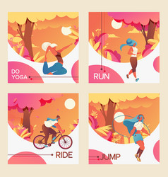 square cards with young girls riding vector image