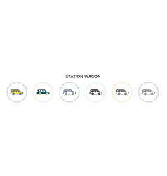 Station wagon icon in filled thin line outline vector