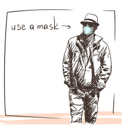 stylish young man in medical face mask in hat vector image