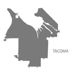 Tacoma washington city map grey silhouette shape vector