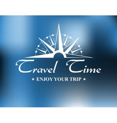 Travel header with compass vector
