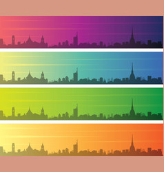 turin multiple color gradient skyline banner vector image