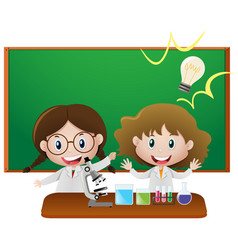 two girls in science classroom vector image